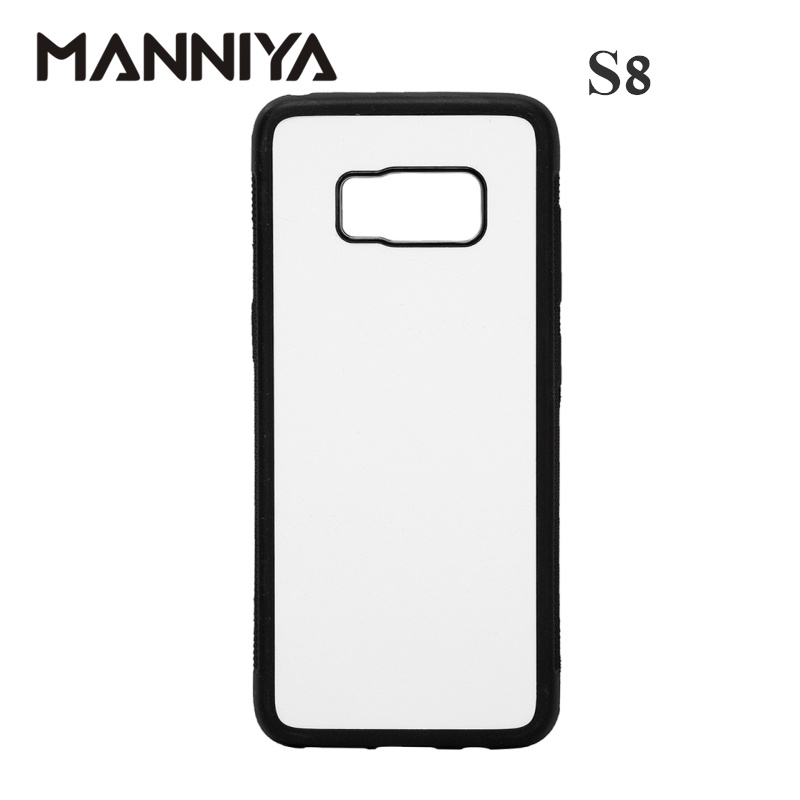 MANNIYA 2D Sublimation Blank TPU PC rubber Case for Samsung Galaxy S8 S8 with Aluminum Inserts