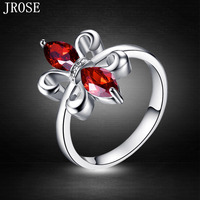 JROSE New Fashion Women Wedding Garnet 18K White Gold Plated Ring Size 6 7 8 9 10 Free Shipping Engagement Christmas Gift