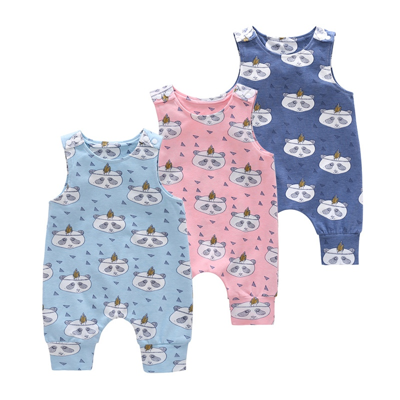 Baby Boys Girls Romper Clothes Printing Sleeveless Cotton Piece Jumper Romper Baby Set