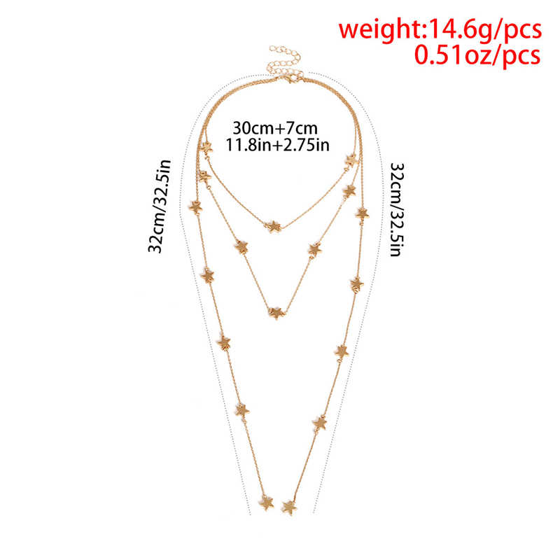 Ahmed Fashion Vintage Creative Multilayer Metal Star Pendant Necklace for Women Punk Neck Chocker Collar Bijoux Jewelry