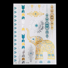 1pc Flash Sexy Products Metallic Waterproof Tattoo Gold Silver YH-095 Elephant Bracelet Temporary Tattoo Body Art Sticker Design