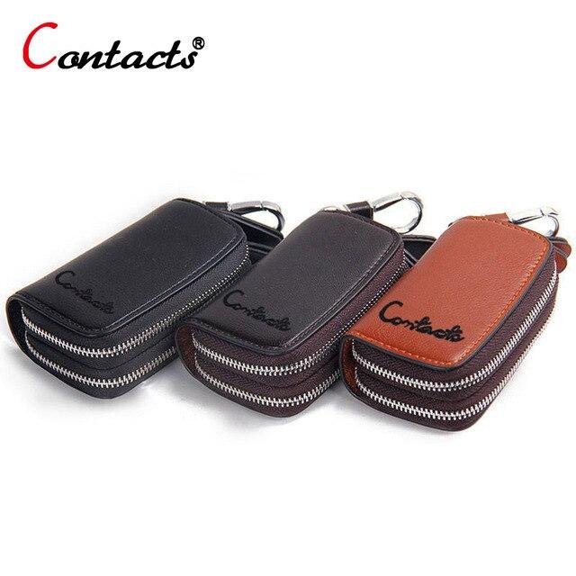 8199ed28d CONTACT'S genuino de la marca cuero titular clave, para hombres cartera  clave coche caso ama casa las mujeres, organizador llavero