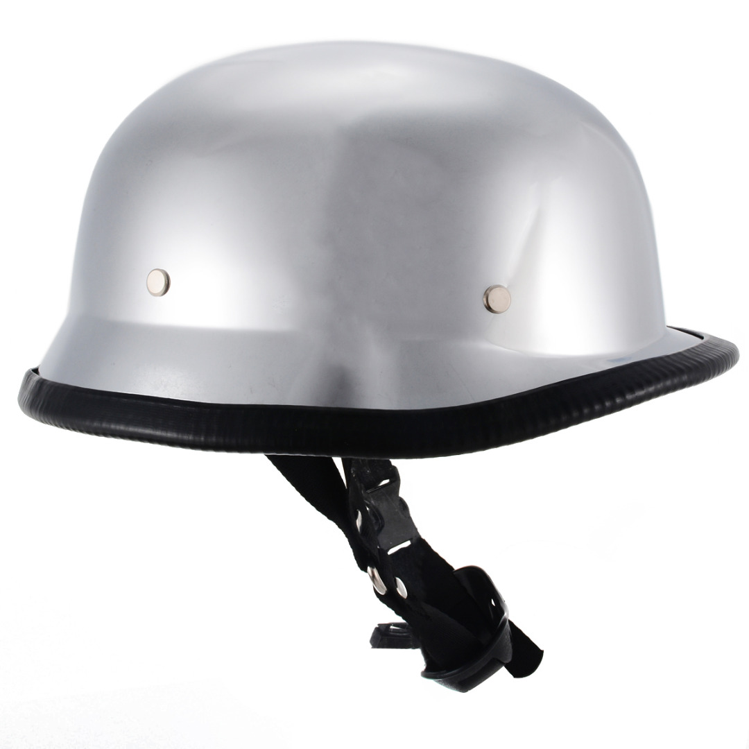 1PC Motorcycle DOT German Style Chrome Helmet Half Face Vintage Retro Helmets With Stainless Steel Dual D-ring Size M L XL