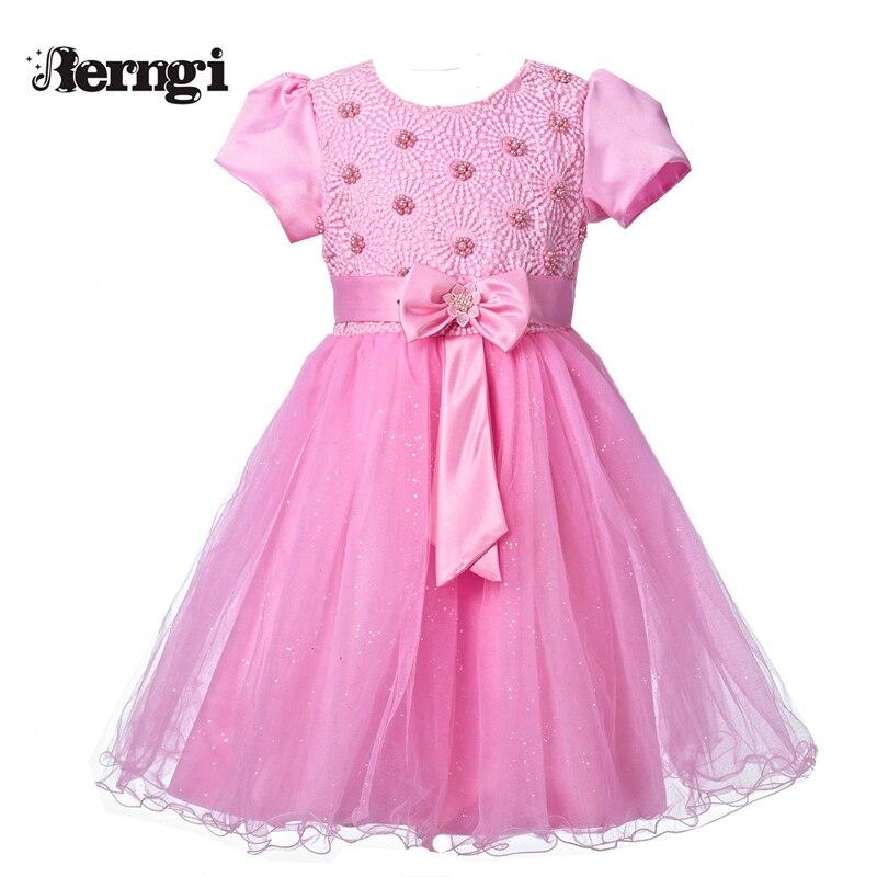 Berngi принцессы новый бренд летнее праздничное платье принцессы для маленьких детей Розовая Одежда С Бисером Платья с цветочным принтом для ...