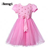 Berngi Princess New Brand Summer Princess Party Dress Baby Kids Pink Clothes Nail bead Girl Flower Dresses Children clothing