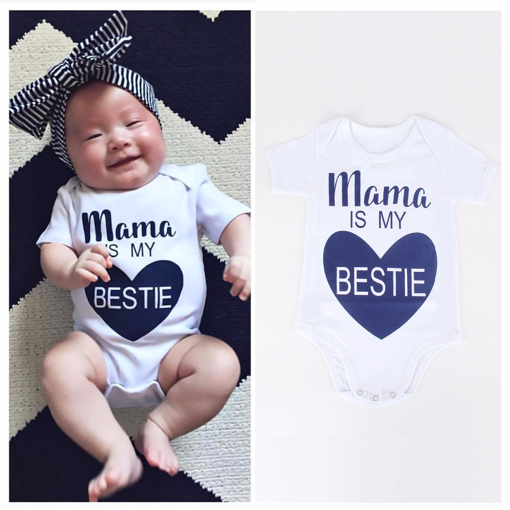 2017 Newborn Kids Baby Infant Boy Girl Cotton Bodysuit Love Pattern Mama is My Bestie Jumpsuit Outfit Clothes Summer 0-18M new 2017 aint a woman alive that could take my mama s place black baby girl boy kids minions clothes t shirt tops blusas mujer