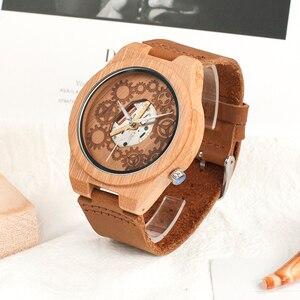 Image 2 - Часы мужские кварцевые с бамбуковым корпусом, светящимися стрелками