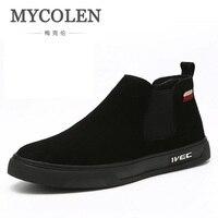 Mycolen 2018 новый бренд зимние сапоги Для мужчин Натуральная ботинки Martin мода круглый носок дышащие ботинки челси для Мужская обувь