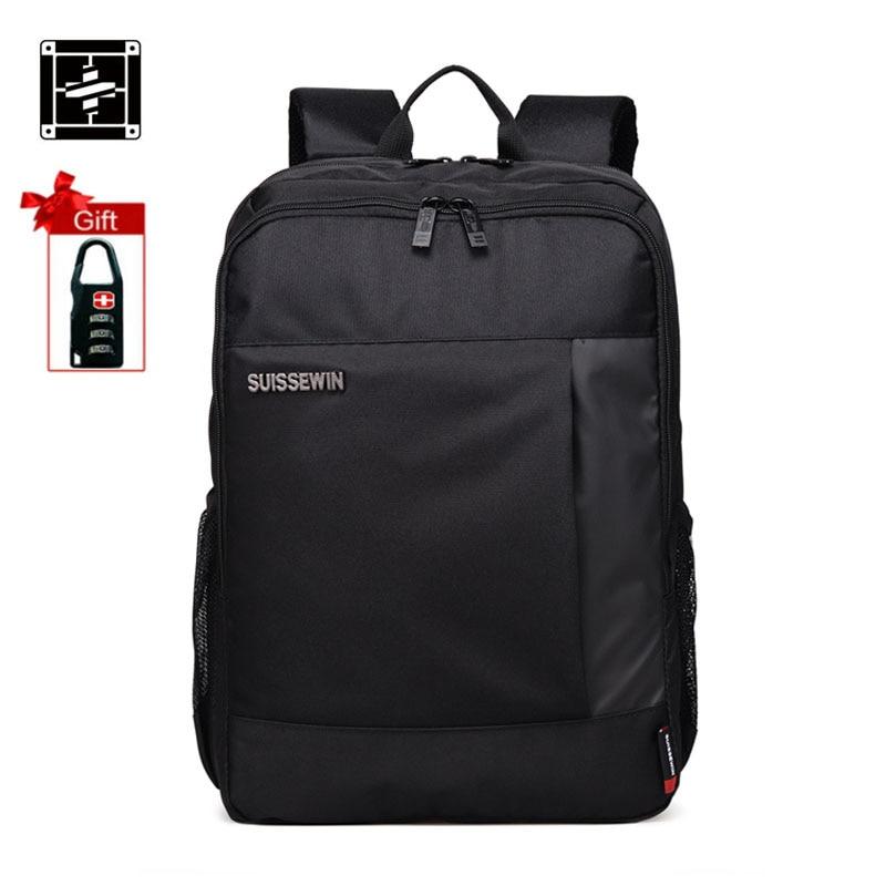 все цены на  Suissewin 2017 Swiss Male Brand Backpack Men Multi pocket Black Cool Backpack Mochila Bag Small Lap Backpack Travel Bags Mochila  онлайн