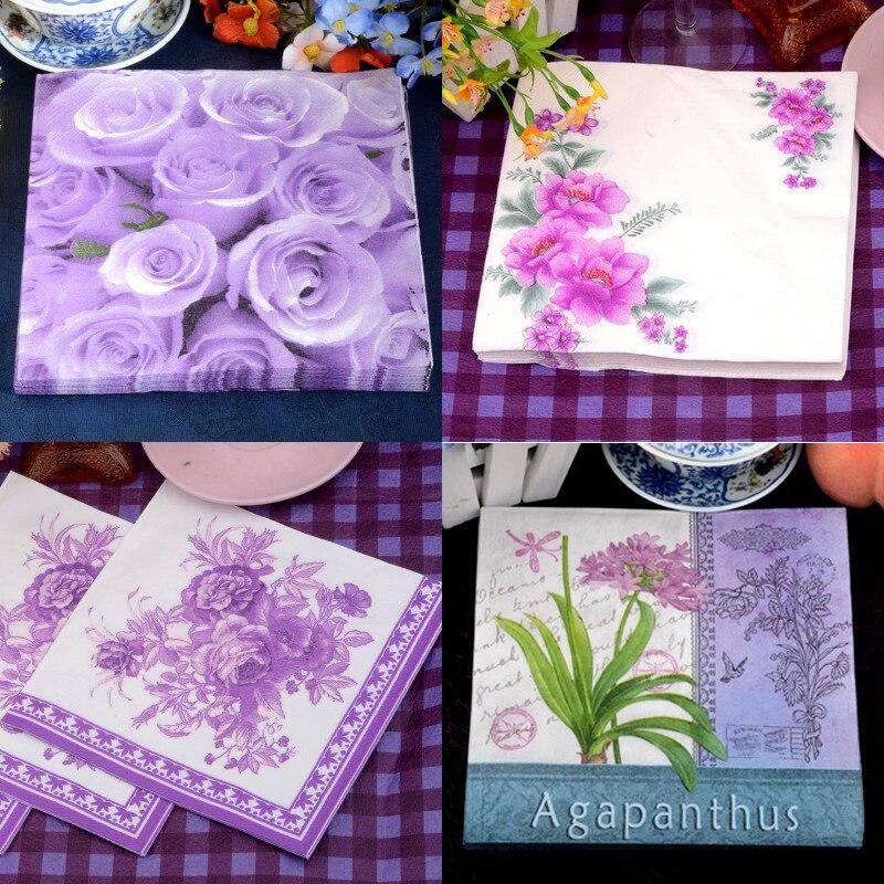 Haochu 20pcs Purple Series Paper Napkins Wedding Decor Flower Tissue Rose Lily Banquet Tableware