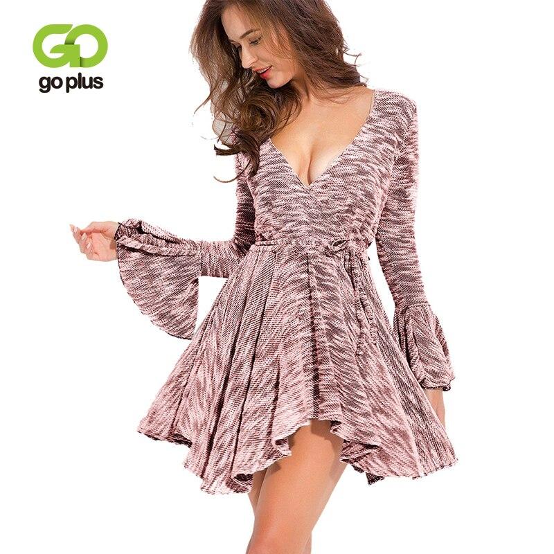 GOPLUS Irregular Print Short Dress Women Sexy Deep V Neck Flare Sleeve Mini Dress Lady 2019 Spring Sashes Casual Vestidos Femal