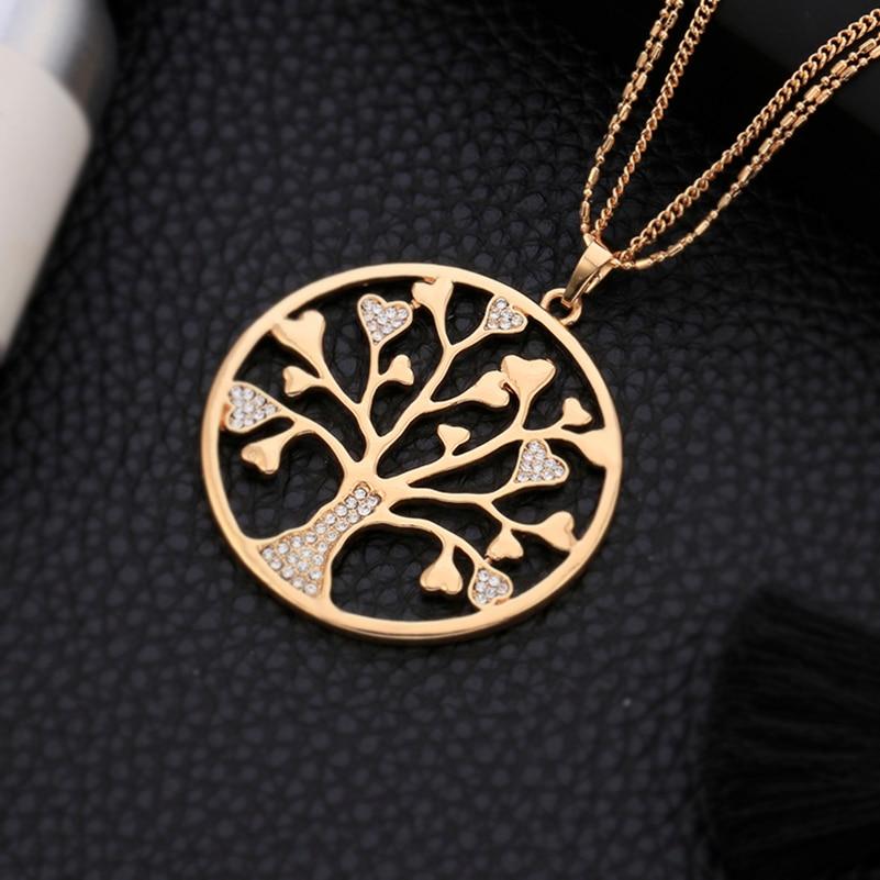 Tree of Life vedhæng halskæde til kvinder Vintage skinnende Crystal Rose guldfarve Runde halskæder Kvindelige udsagn Smykker Gave
