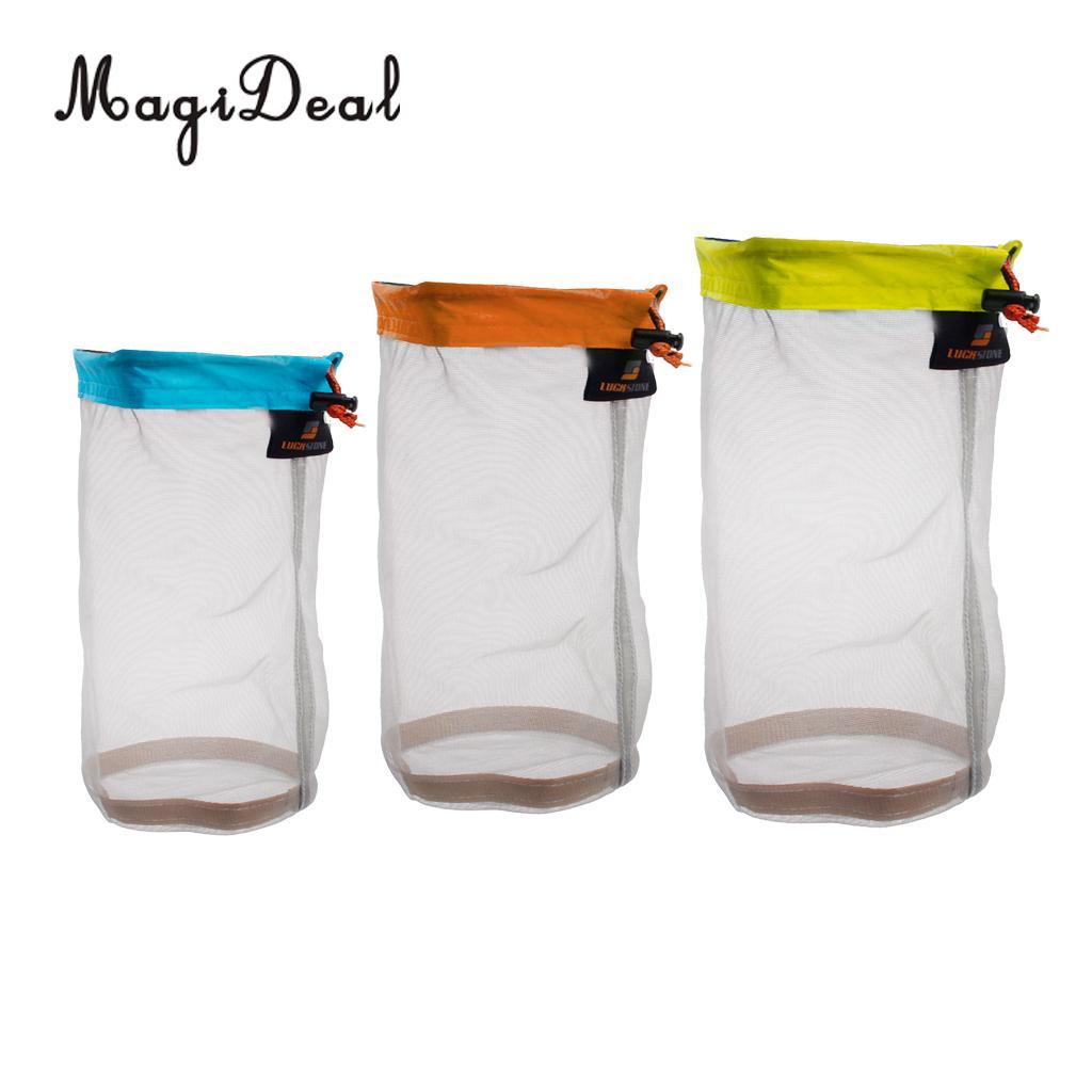 MagiDeal Set of 3 S + M + L Outdoor Travel Camping Sports Ultra-light Mesh Stuff Sack Drawstring Storage Bags