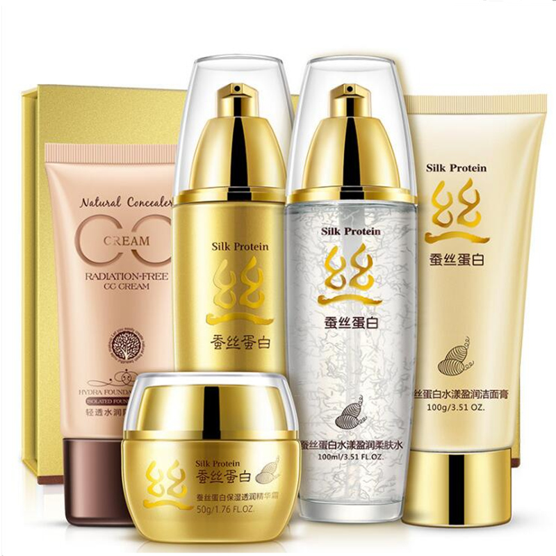 Silk Protein Face Care Skin makeup set,Fashion cosmetics kit,Moist Concealer Essence Cream, Repair Cream,Liquid Fundation Cream