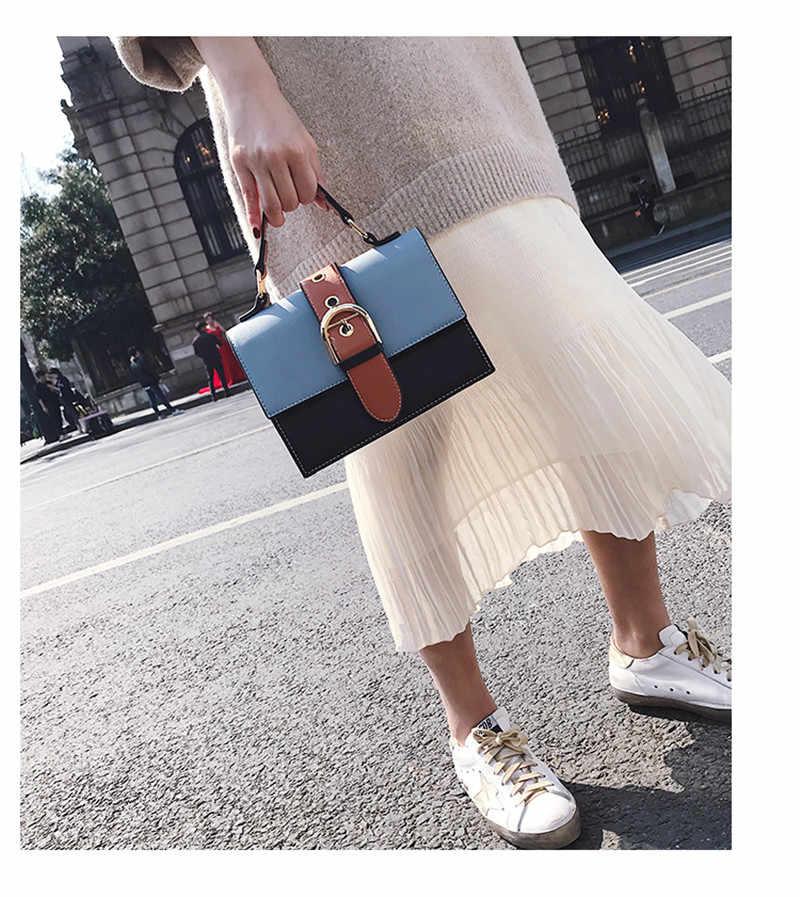 2019 модная новинка Высококачественная женская сумка из искусственной кожи контрастная женская сумка через плечо женская дизайнерская сумка через плечо #