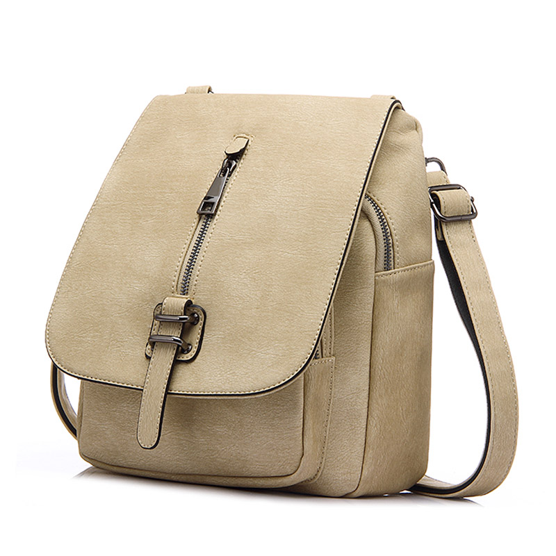 Fashion Women Backpack Beige Sweet Girls School Bag Solid High Quality PU Leather Preppy Style Collega Bags 2016 fashion women s backpack beige