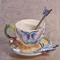 Tea Coffee Mugs Ceramic Blue Butterfly Milk Cup Home Decor Craft Room Wedding Decoration Porcelain Figurine