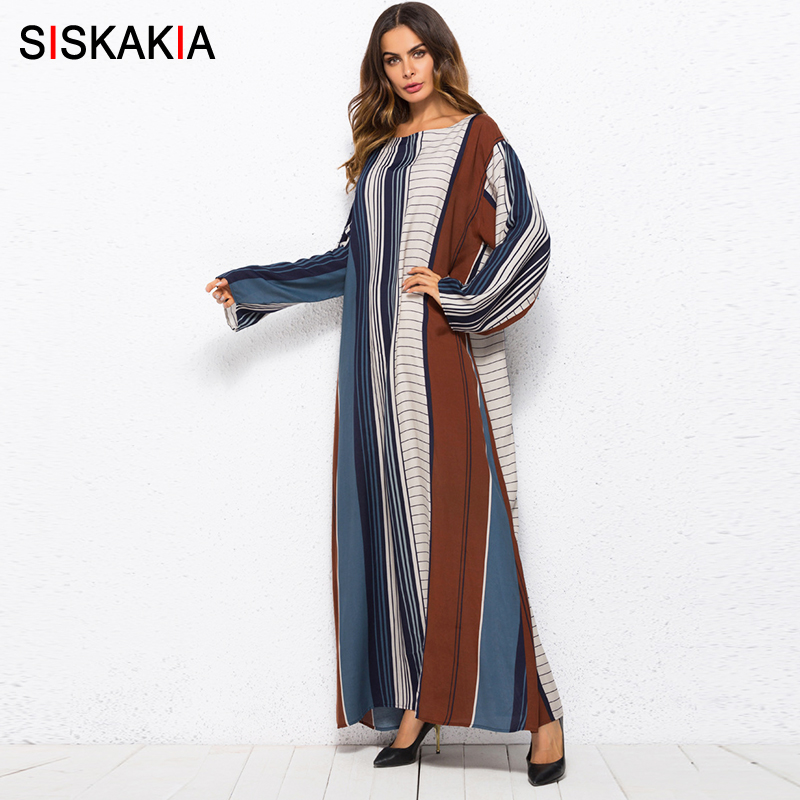US $18.84 41% OFF|Siskakia multicolor stripe color block plus size dressing  gowns for women Spring Summer 2018 UAE dubai Turkey maxi long dress-in ...