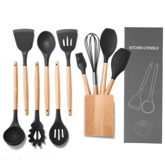 kitchen utensils set cabinets wichita ks premium silicone 10 piece cooking with bamboo wood handles for nonstick cookware