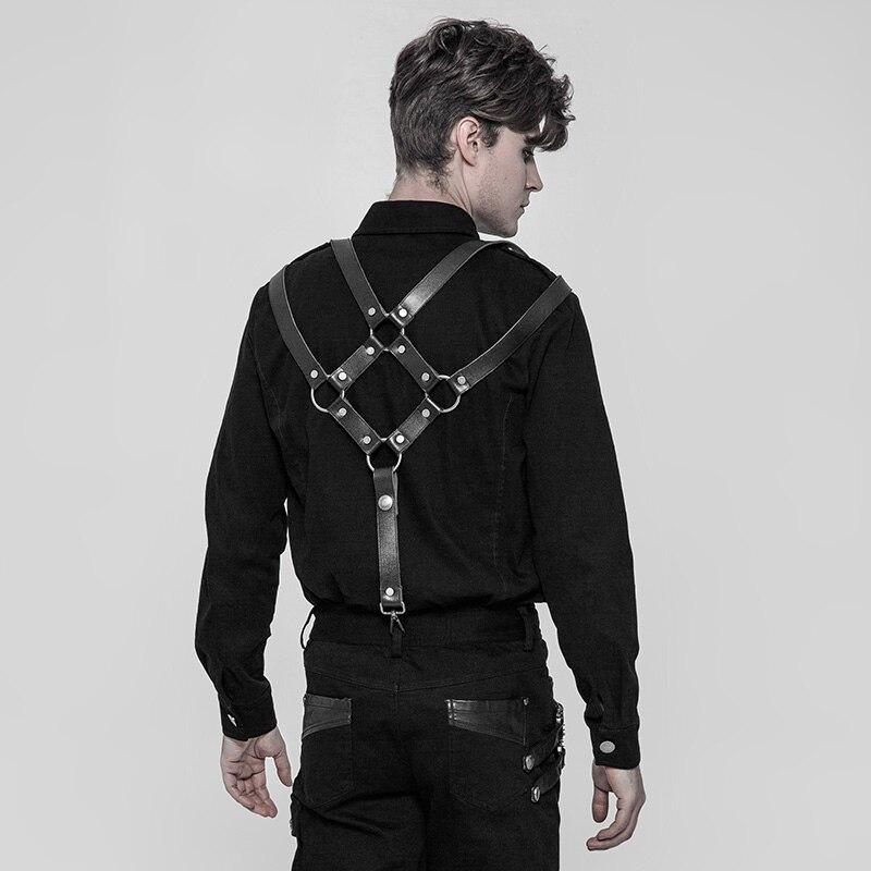 PUNK RAVE hommes Punk Rock pantalon bandoulière accessoires classique PU cuir métal crochets gothique fête Club noir hommes bretelles - 3