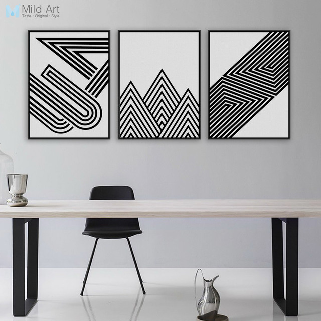 Black White Modern Minimalist Geometric Shape A4 Art Prints Poster Abstract Wall Picture Canvas Painting Living