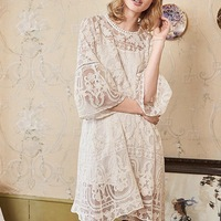 Summer 100 % Silk Embroidery Perspective Women's Wear, Mori Women's lace high end dress