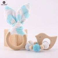 Laten we 2 pc/1 lot Baby Bijtring Bunny Ear DIY Tandjes Houten Armbanden Gemaakt Beuken Dieren Douche gift Play Gym Speelgoed Baby Rammelaar 3