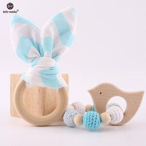 Image 4 - Yapalım 2 adet/1 grup bebek diş kaşıyıcı tavşan kulak DIY diş çıkarma ahşap bilezikler yapımı kayın hayvanlar duş hediye oyun spor oyuncak bebek çıngırak