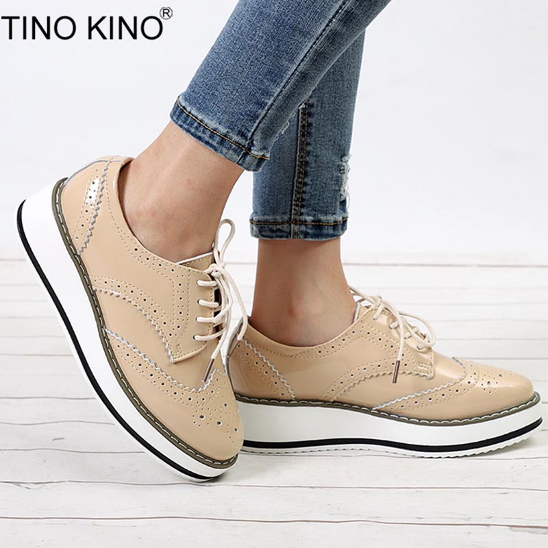TINO KINO Women Patent Leather Lace Up Autumn Oxfords Ladies Flat Platform Casual Shoes Female Thick Bottom Fashion Footwear smile circle spring autumn women shoes casual sneakers for women fashion lace up flat platform shoes thick bottom sneakers