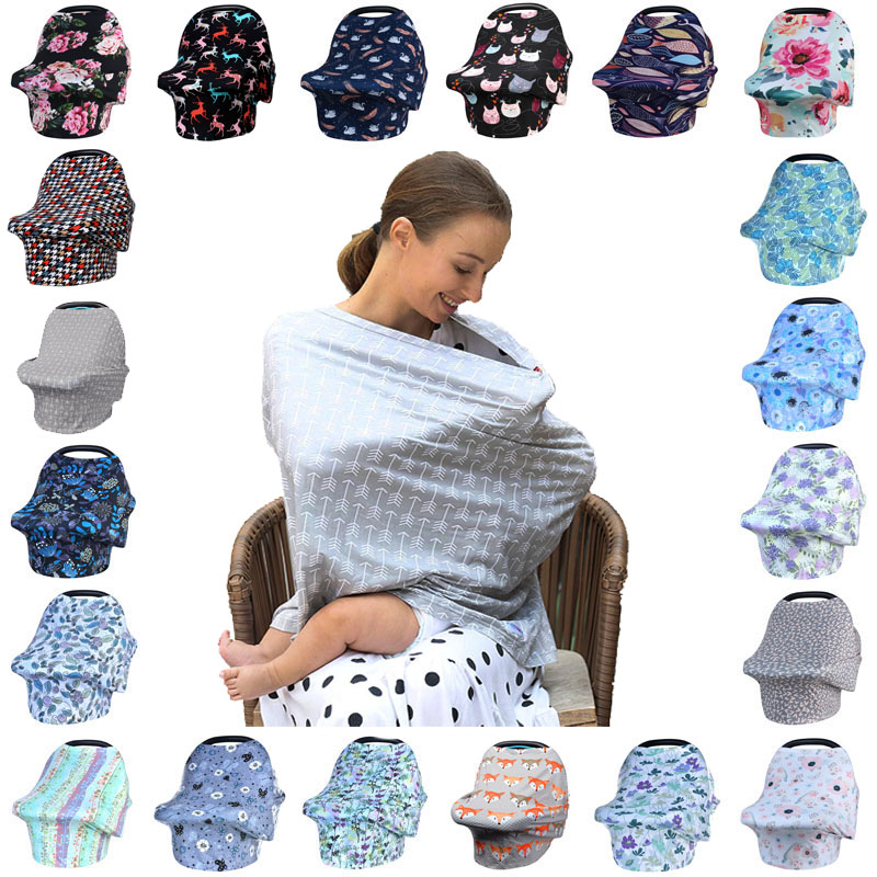 Newborn Breastfeeding Scarf Multi-function 5 In 1 Baby Stroller Cover High Chair Cover Striped Baby Car Seat Cover Canopy