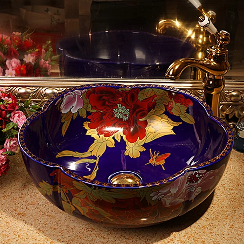 Jingdezhen rose flower counter top ceramic wash basin for hotel or home