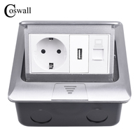 Coswall Aluminum Panel Pop Up Floor Socket 16A Russia Spain EU Standard Power Outlet USB Charge Port Data RJ45 Internet Jack Electrical Sockets     -