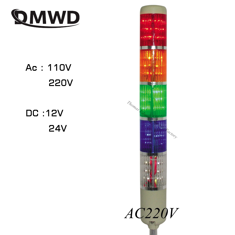 AC 220V 110V Safety Stack Lamp Red Green Yellow Flash Industrial Tower Signal Light LTA-505 5 layer DC 12V 24V Warning lamp LED zusen new 24v red yellow and green color led 50mm signal tower light with three layer