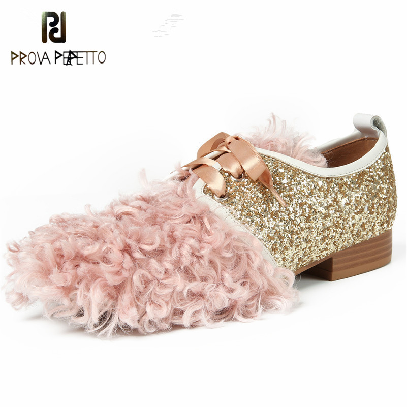 Prova Perfetto Bling Bling Sequined Women Flats Shoe Laces Riband Shoes Woman Sweet Pink Wool Ankle