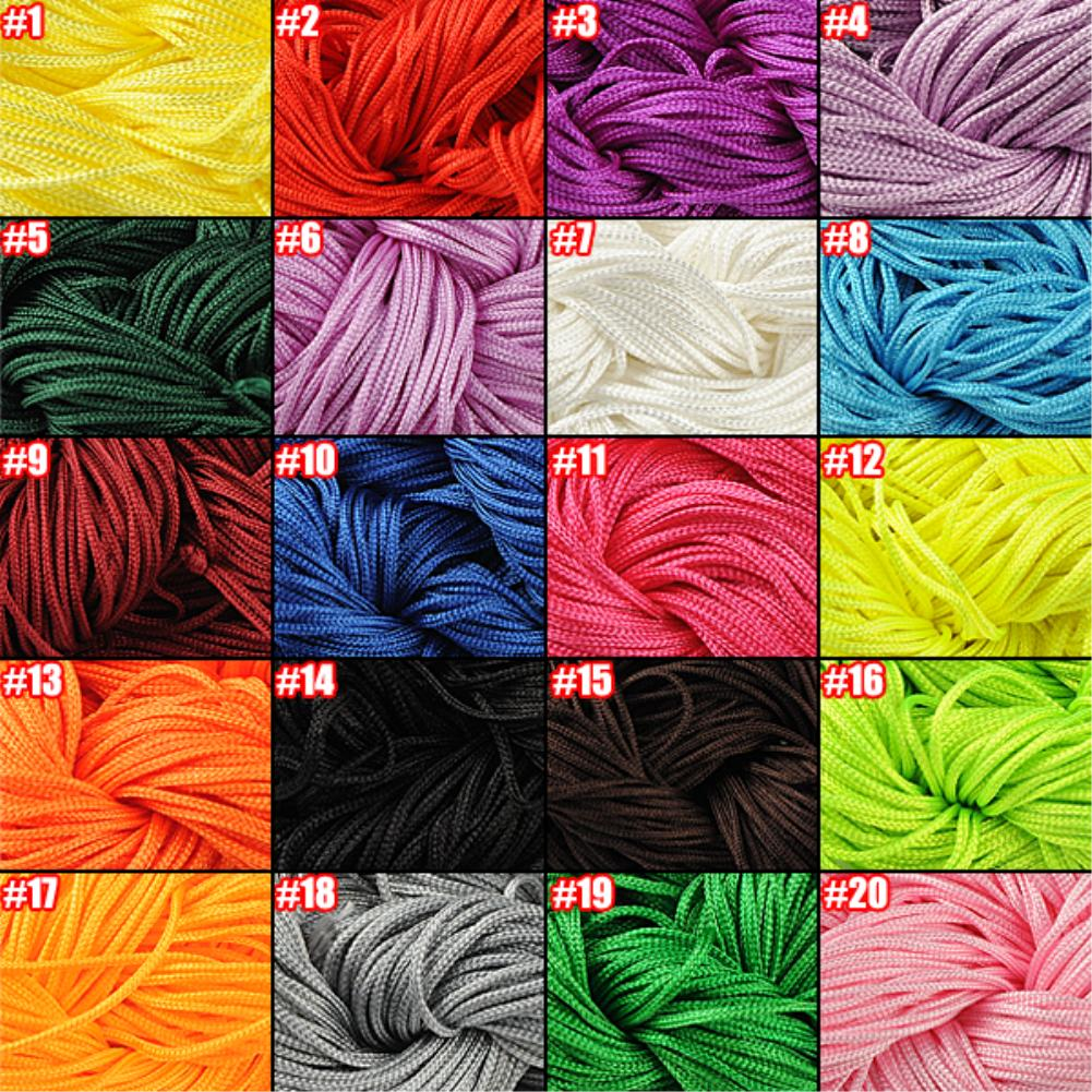 Hot Sale 20 Color Nylon Cord Thread Chinese Knot Macrame Rattail 1mm*30M For DIY Bracelet Braided