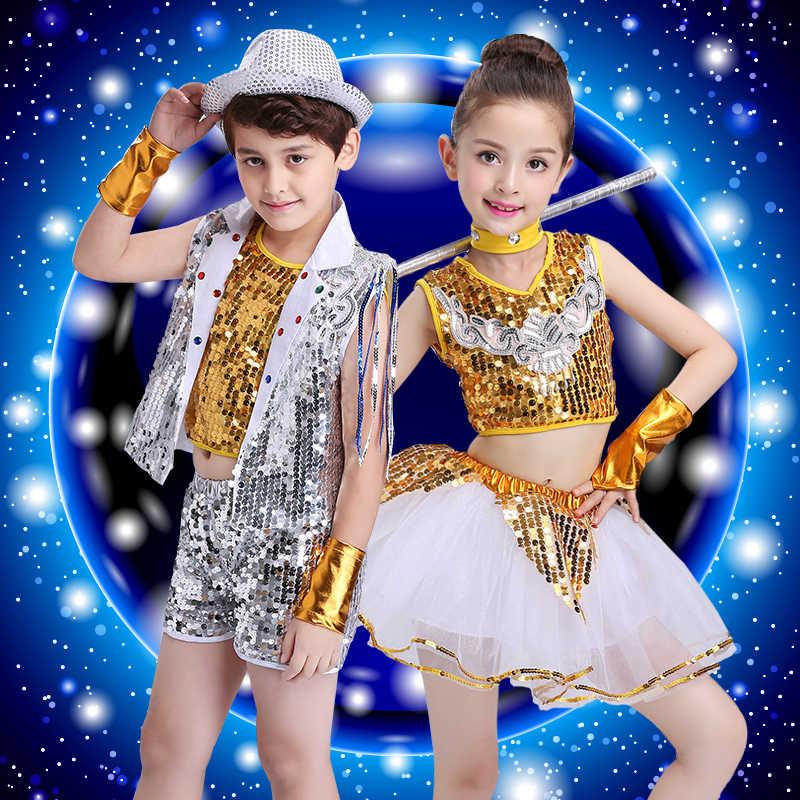 Trẻ em Jazz Trang Phục Khiêu Vũ Trường Sân Khấu Perfromance Hip Hop Quần Áo Khiêu Vũ Cậu Bé Streey Dance Mang DJ/DS Quần Áo Khiêu Vũ Outfit 90