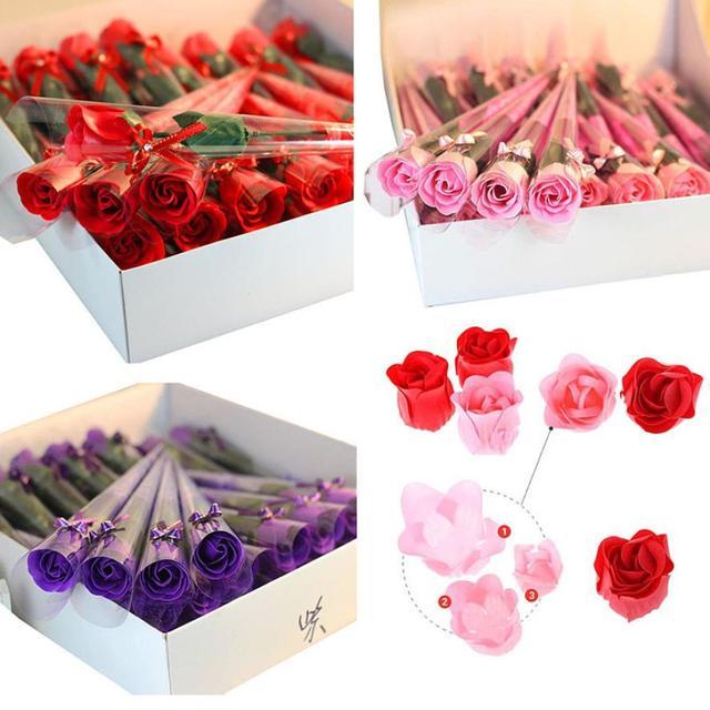 Luxurious 32pcs Red Fuchsia Scented Rose Flower Petal Bath Body Soap
