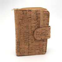 Natural Cork Women Wallet For Vegan Clutch Cork Leather Gold Col Zipper Handmade Wallet From PORTUGAL