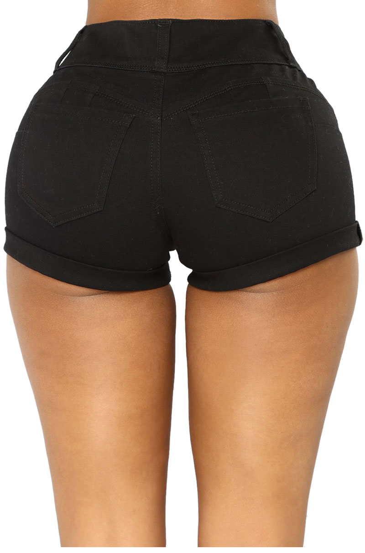 Black-Mid-Rise-Triple-Button-Stretch-Denim-Shorts-LC786077-2-2