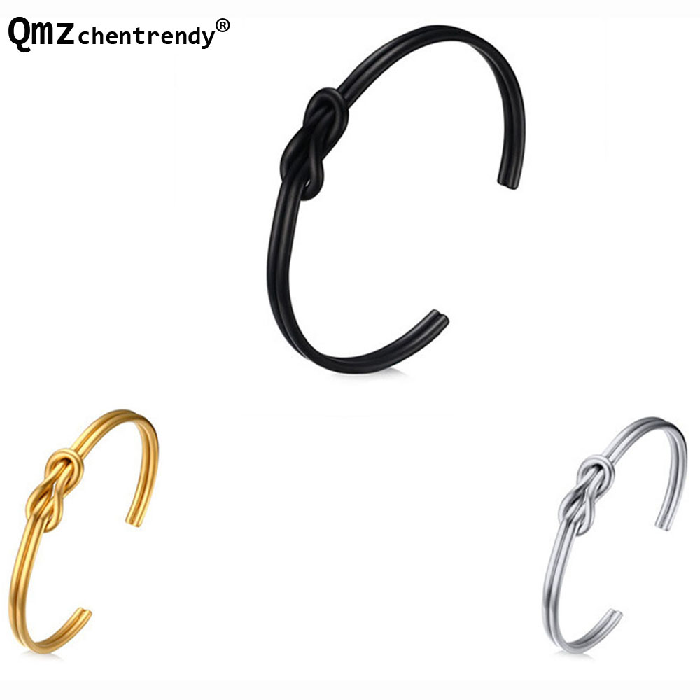 Top quality Stainless steel Knot Cuff Gold black Bracelet Simple Twist wire open cuff knot bangle bracelet for Women Men jewelry