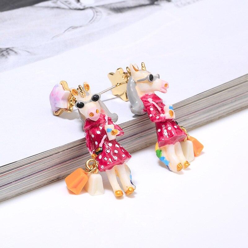 unicorn series enamel glaze earring 3