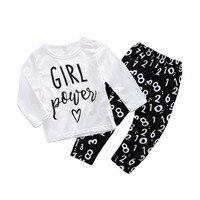 2018 Bahar bebek kız pamuk t gömlek + pantolon seti yüksek kalite bebek boys MY DADDY KAYALAR üst tayt çocuk giyim 17N1120