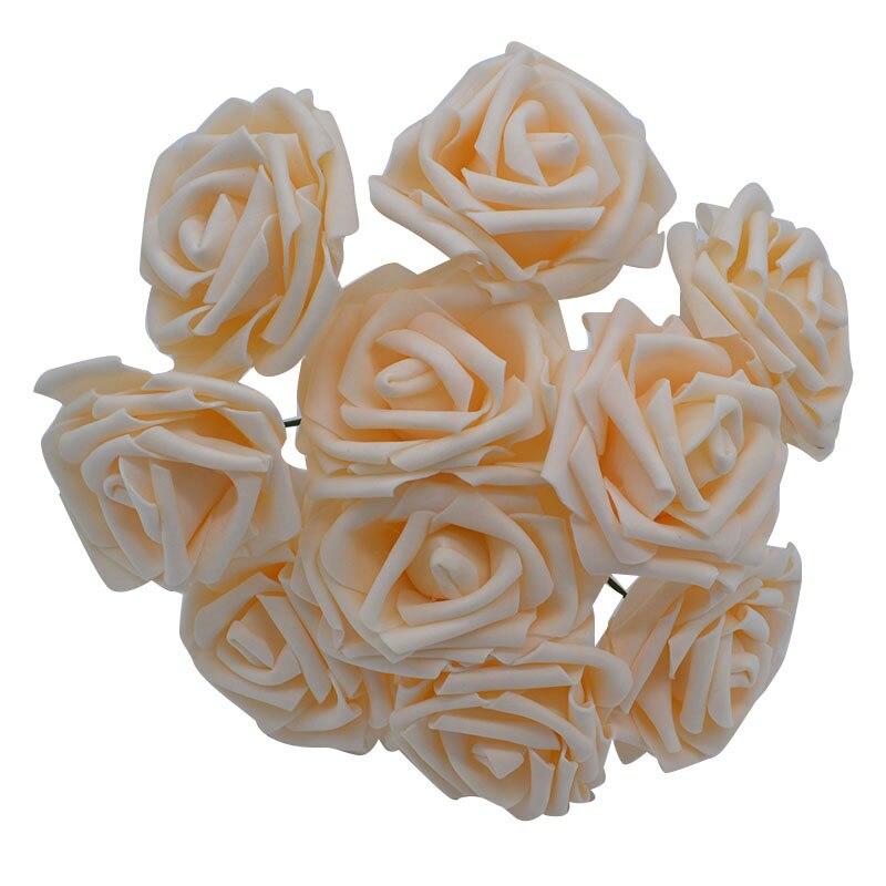 10 шт. 8 см большие ПЭ пенные цветы искусственные розы цветы Свадебные букеты Свадебные украшения для вечеринки DIY Скрапбукинг Ремесло поддельные цветы - Цвет: champagne no leaf
