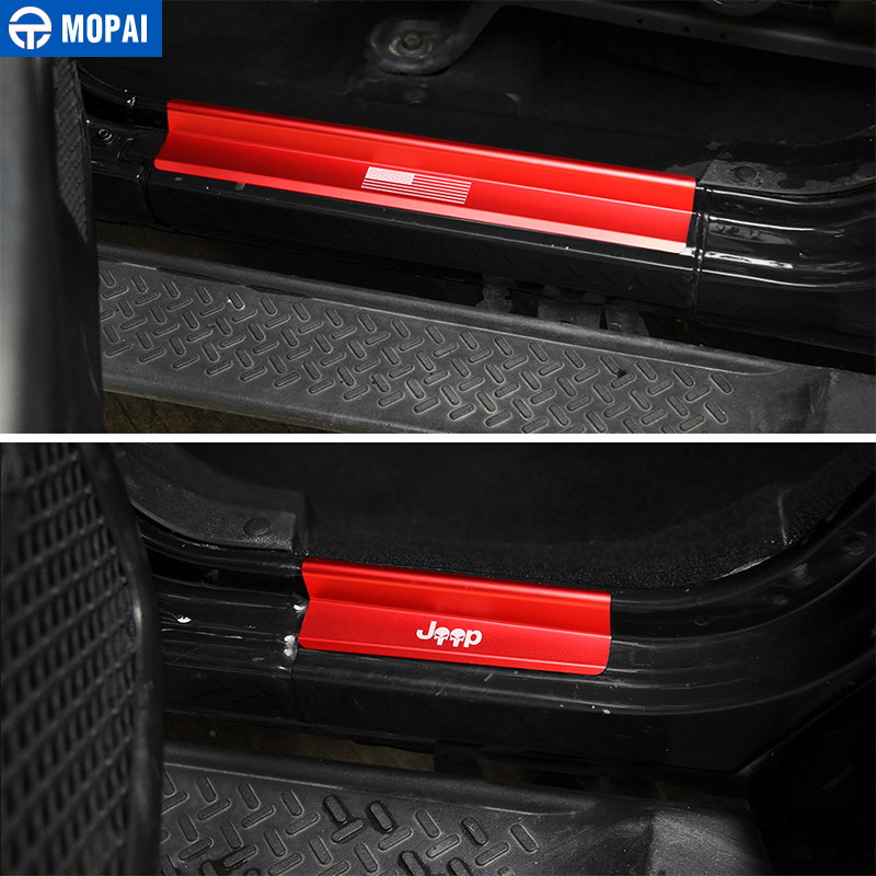Image 3 - MOPAI New Style USA Flag Logo Skull Door Sill Scuff Plate Protector Welcome Pedal for Jeep Wrangler JK 2007 2016 Car Styling-in Pedals from Automobiles & Motorcycles