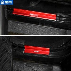 Image 3 - Mopai novo estilo eua bandeira logotipo crânio porta peitoril scuff placa protetor pedal de boas vindas para jeep wrangler jk 2007 2016 estilo do carro