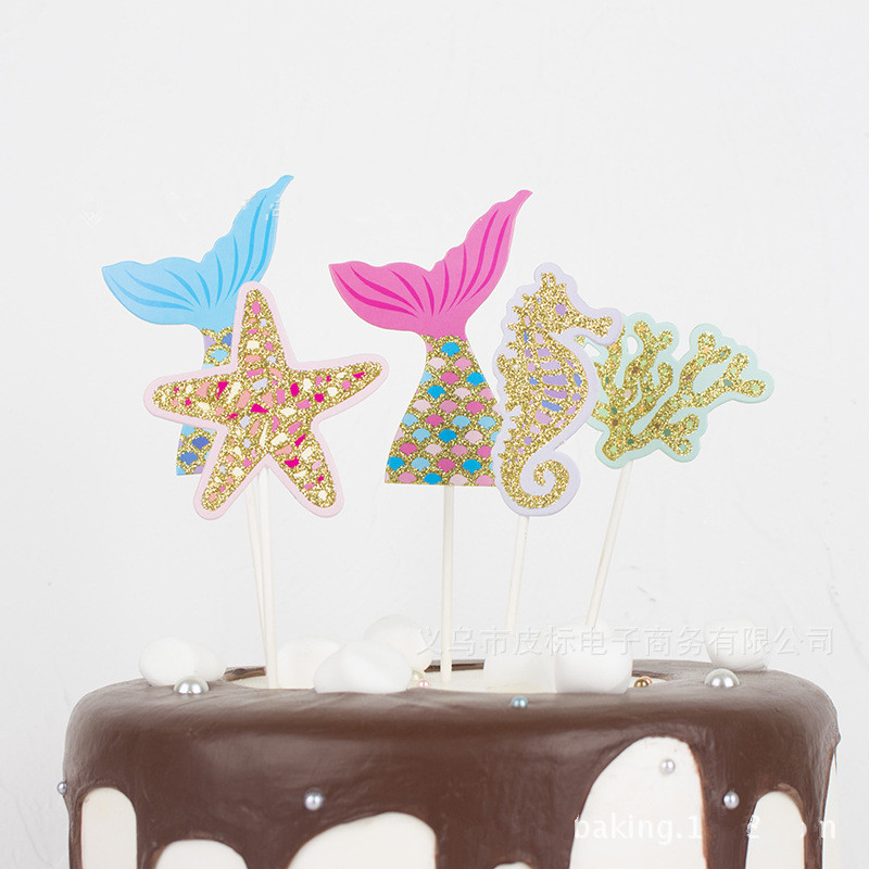 Mermaid Under The Sea Baby Girl Birthday Party Cake Topper Starfish Hippocampi Cupcake Decoration