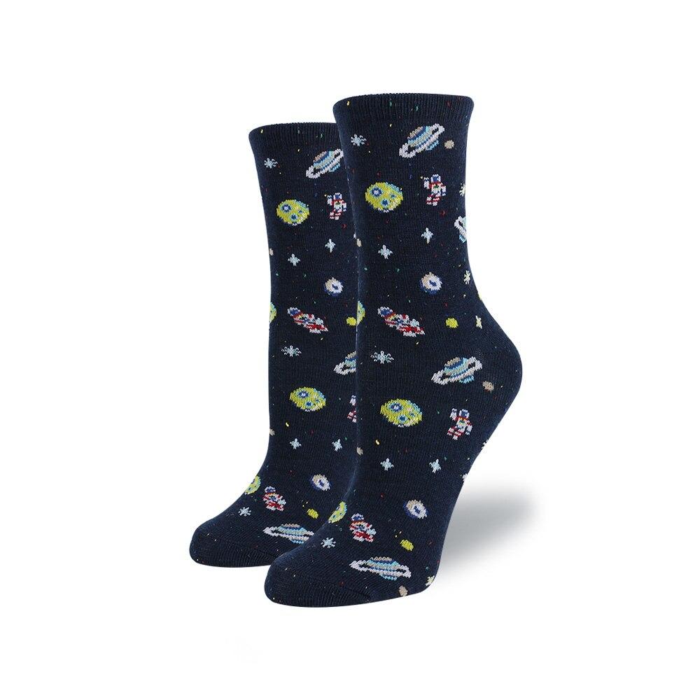 Women Cute Cartoon Space   Socks   Cotton Alien Planet Cotton Female   Socks   Girl Creative Funny   Socks   Black Blue Pattern Fun SOX