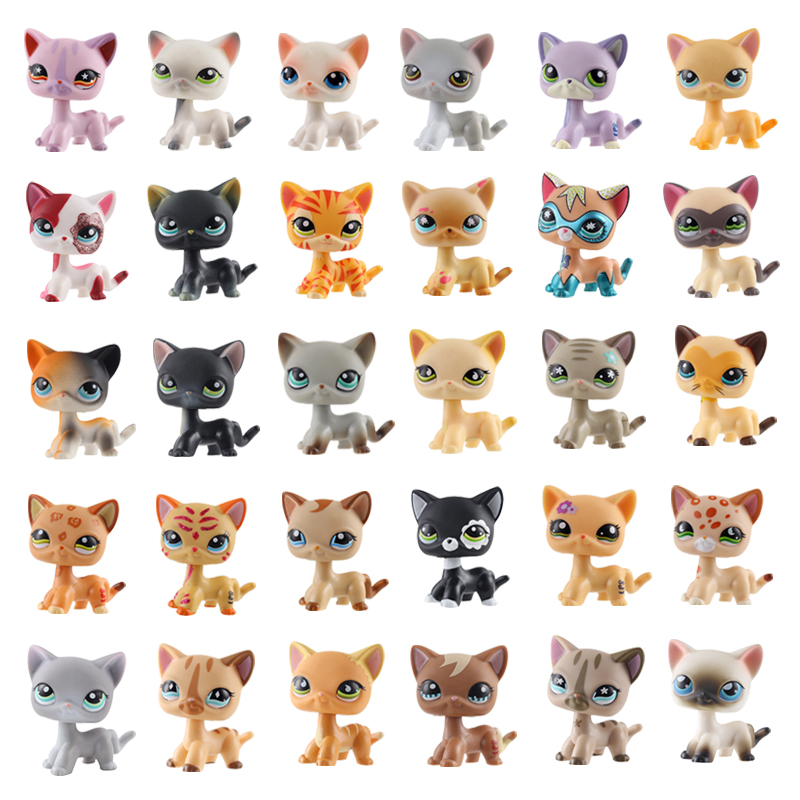 Lps Pet Shop Lps Toy Standing Short Hair Cat Figure Original Kitten Husky Puppy Dog Littlest Animal Collection Free Shipping