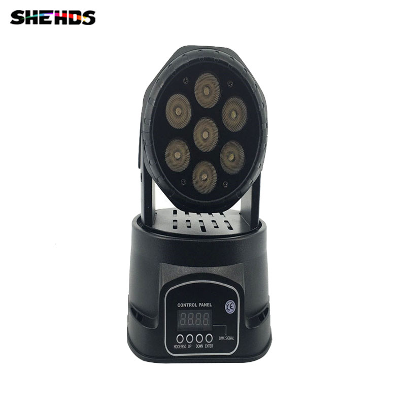 Fast Shipping  LED  Moving Head Mini Wash 7x12w RGBW Quad with advanced 10/15 Channels ,SHEHDS Stage Lighting