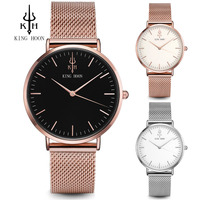 KING HOON Top Luxury Brand Rose Gold Silver Women Watches Leather Steel Quartz Wrist Watch Relogio